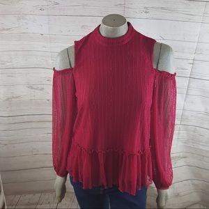 RO & DE Rose Lace Cold Shoulder Peplum Top